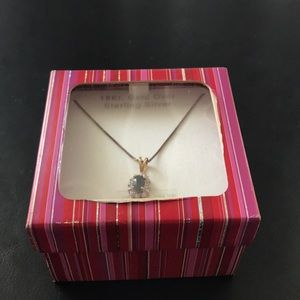 Jewelry - Genuine Sapphire Diamond 18K Gold Silver necklace